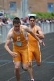 Mike Schiafone to Chris Steliga in the 4 X 400m